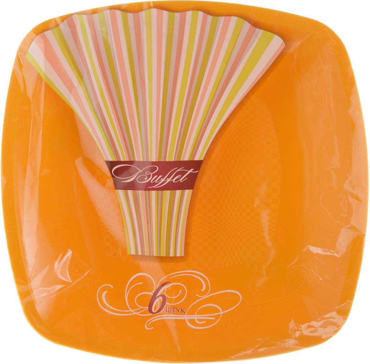 Набор одноразовых тарелок Buffet, цвет: оранжевый, 18 х 18 см, 6 шт набор одноразовых стаканов buffet biсolor цвет оранжевый желтый 200 мл 6 шт