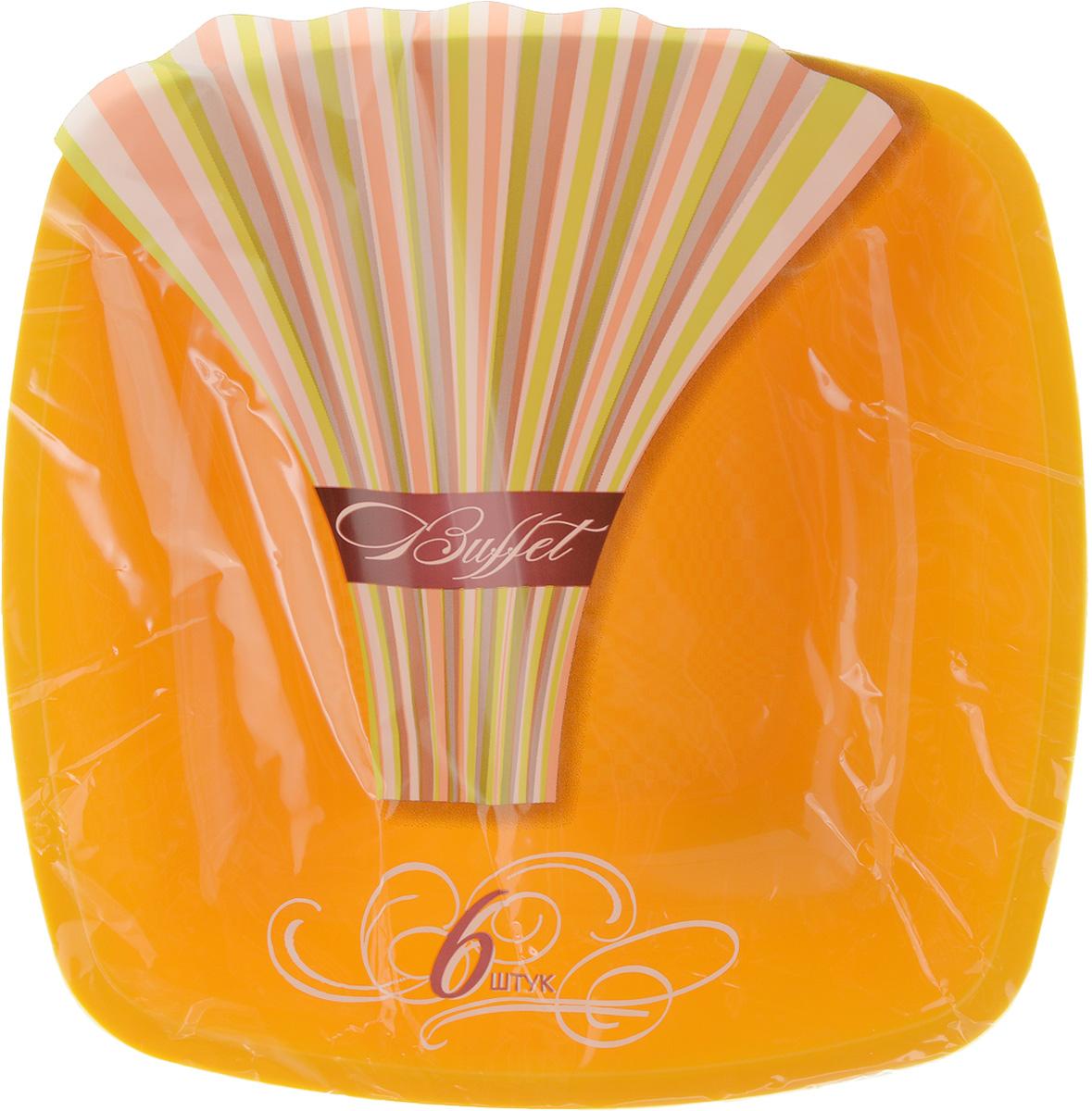 Набор одноразовых глубоких тарелок Buffet, цвет: желтый, 18 х 18 см, 6 шт мистерия buffet красная