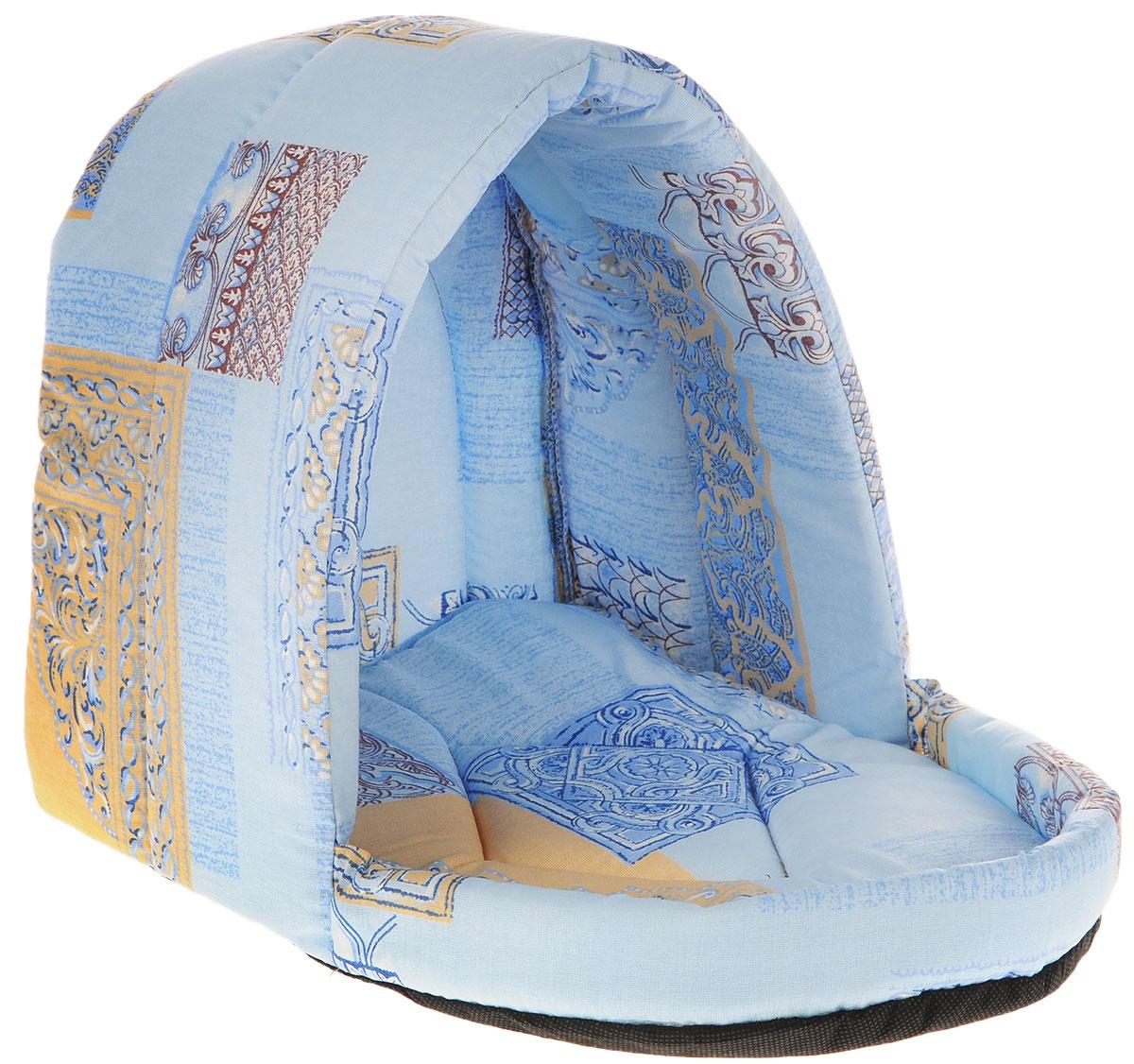 Лежак для животных Elite Valley Люлька, цвет: голубой, бежевый, 37 х 28 х 28 см. Л-11/2 лежак для животных elite valley пуфик цвет синий розовый зеленый 90 х 70 х 18 см л 4 5