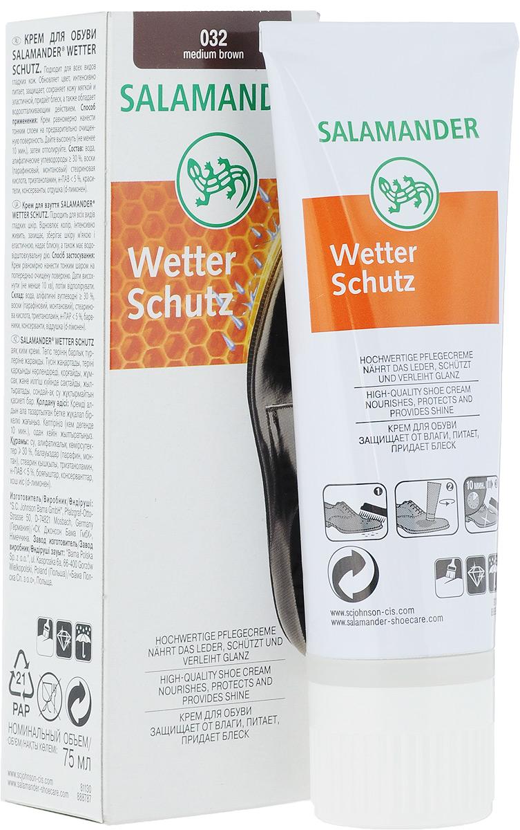 Крем для обуви Salamander Wetter Schutz, цвет: коричневый, 75 мл672712Salamander Wetter Schutz - это высококачественный крем для ухода за изделиями из гладкой кожи. Сбалансированный комплекс активных компонентов и натурального пчелиного воска питает кожу, обновляет цвет и придает великолепный блеск. Защитная формула с фтором и силиконовым маслом эффективно защищает обувь от сырости и грязи. Не содержит растворителей.Товар сертифицирован.
