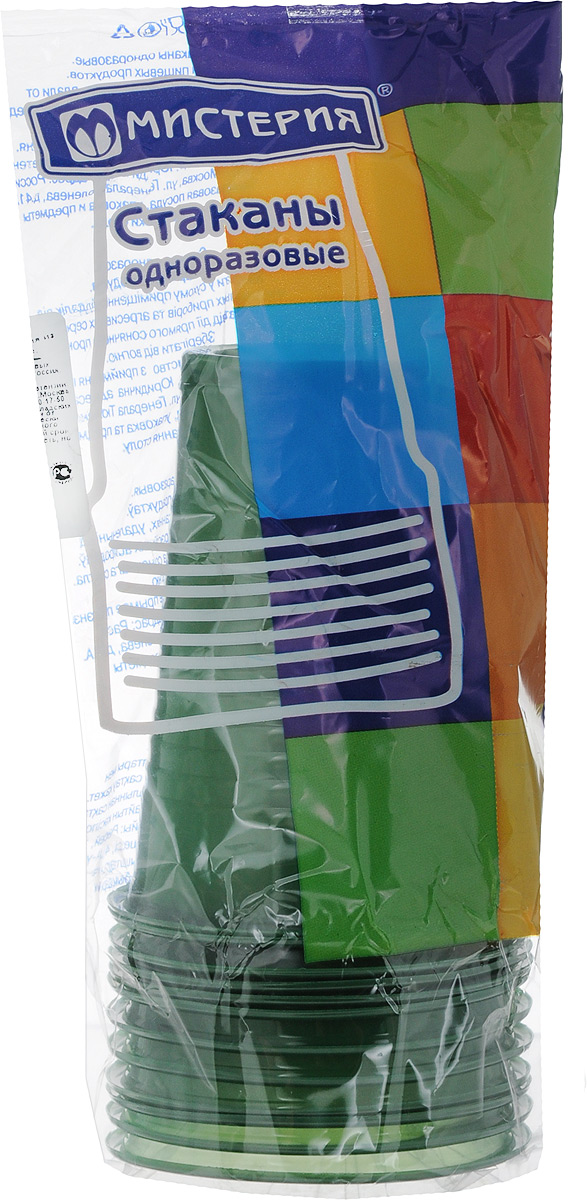 Набор одноразовых стаканов Мистерия, цвет: зеленый, 200 мл, 12 шт набор одноразовых контейнеров мистерия прямоугольные 750 мл 5 шт 186526