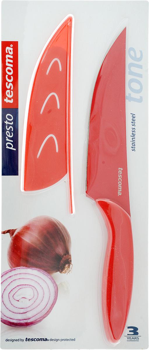 Нож универсальный Tescoma Presto Tone, с чехлом, цвет: красный, длина лезвия 13 см863088Универсальный нож Tescoma Presto Tone предназначен для нарезки мяса, овощей, фруктов и других продуктов. Лезвие выполнено из высококачественной нержавеющей стали с антиадгезивным покрытием, а ручка из прочного пластика. Продукты не прилипают к лезвию. Изделие легко чистится. В комплект входит защитный чехол для бережного хранения. Можно мыть в посудомоечной машине, не рекомендуется использовать металлические губки и абразивные чистящие средства. Общая длина ножа: 24 см.