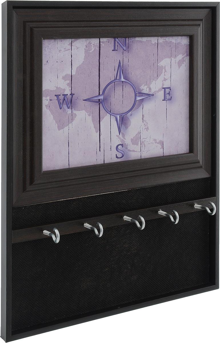 Вешалка-ключница Milarte Открытая, цвет: сиреневый, темно-коричневый, 31 х 24,5 х 1,5 смKOMV-107016_сиреневыйВешалка-ключница Milarte Открытая, выполненная из МДФ, украсит интерьер помещения, а также поможет создать атмосферу уюта. Ключница, декорированная оригинальным изображением, станет не только украшением вашего дома, но и послужит функционально. Изделие имеет пять металлических крючков для ключей. Вешалка-ключница подвешивается на стену с помощью металлической петельки.Размер изображения: 17 х 12,5 см.