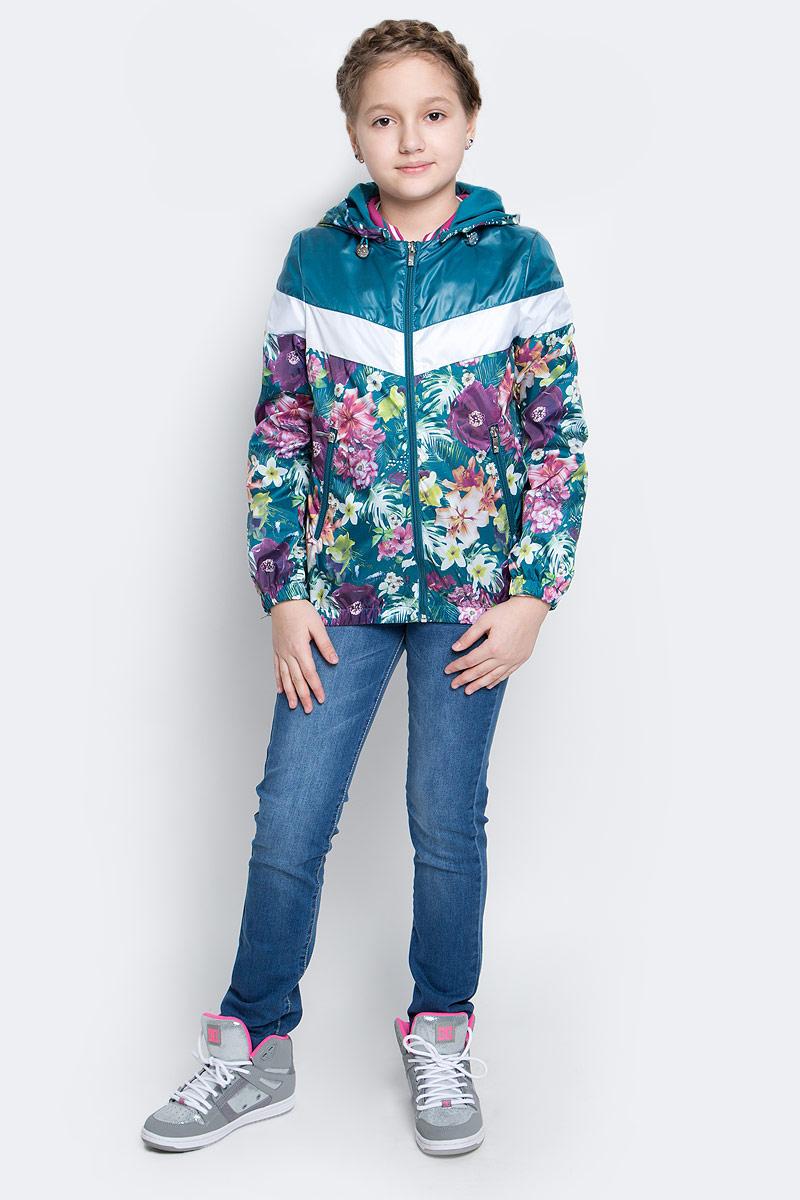 Куртка для девочки Boom!, цвет: бирюзовый, мультиколор. 70001_BOG_вар.1. Размер 98, 3-4 года70001_BOG_вар.1Лёгкая куртка для девочки Boom! изготовлена из водонепроницаемого полиэстера. Куртка с тропическим принтом застегивается на пластиковую застежку-молнию. У модели предусмотрены два врезных кармана на молниях.Капюшон съемный, пристегивается на пуговицы. Капюшон оснащен резинкой-утяжкой со стопперами. Манжеты рукавов и низ куртки дополнены вшитыми резинками.