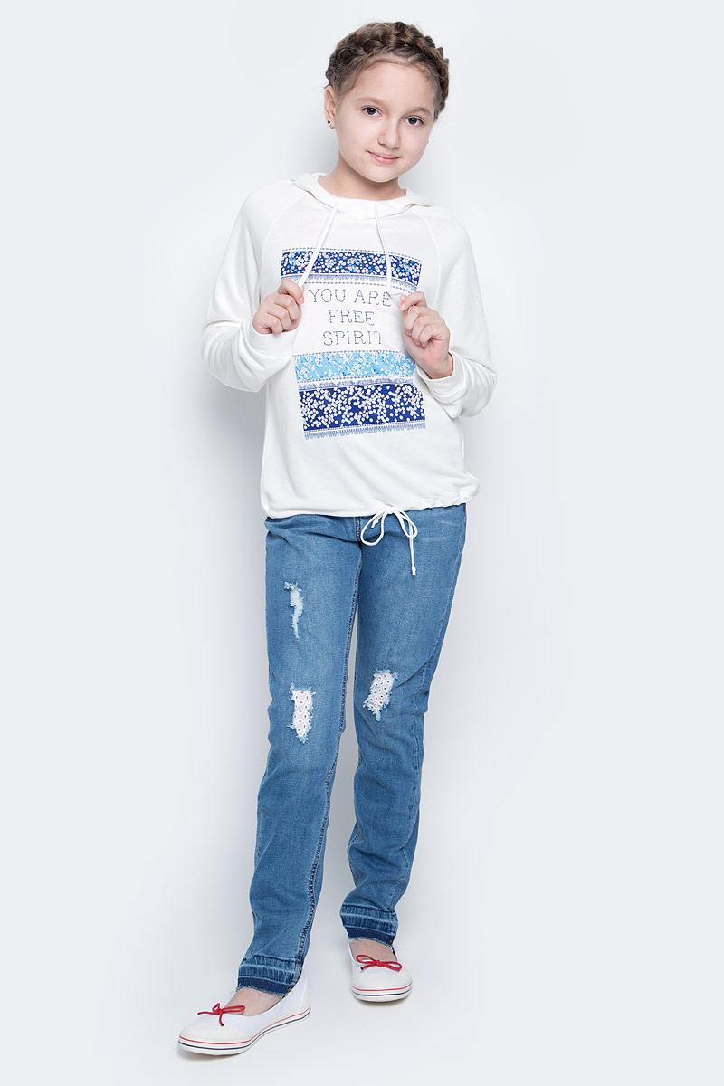 Лонгслив для девочки Sela, цвет: гардения. St-613/141-7151. Размер 128, 8 летSt-613/141-7151Лонгслив для девочки Sela выполнен из вискозы с добавлением полиэстера. Модель с капюшоном и длинными рукавами реглан. Низ модели и капюшон дополнены утягивающими шнурками.
