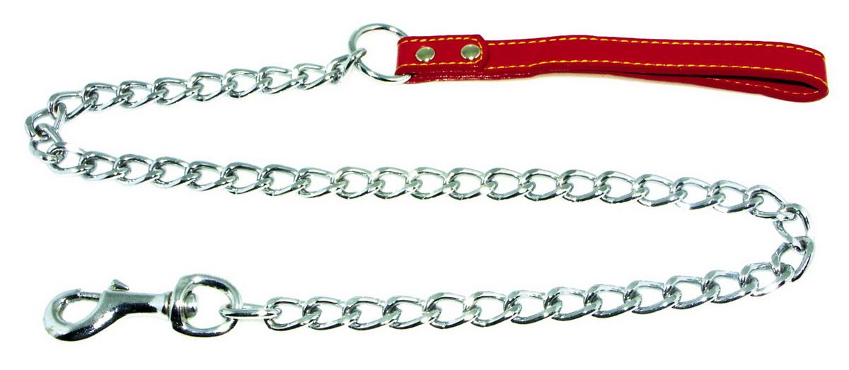 Поводок-цепь для собак Dezzie, цвет: красный, серебристый, толщина 3,5 мм, длина 120 см5601018Поводок-цепь для собак Dezzie - это удобная и качественная амуниция из хромированной стали и натуральной кожи. Поводок прост в использовании. Он поможет удерживать энергичного питомца во время прогулки, не навредив при этом его здоровью. Изделие пристегивается к ошейнику с помощью встроенного карабина. Такой поводок смотрится элегантно, идеально подходит для дрессировки и создан так, чтобы не причинить питомцам дискомфорта.Длина поводка: 120 см.Толщина цепи: 3,5 мм.