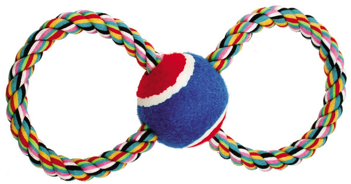 Игрушка для собак Dezzie Тяни-толкай. Восьмерка-теннис, длина 23 см. 5608040 игрушка канатная mrpet восьмерка с мячем цвет желтый красный 25 см