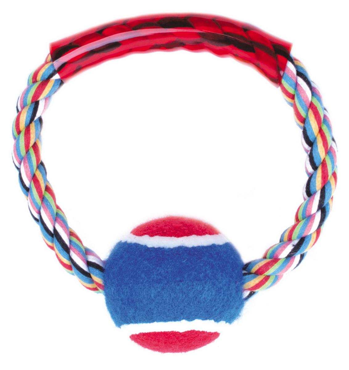 Игрушка для собак Dezzie Кольцо с мячом, 15 см5608068Игрушка для собак Dezzie Кольцо с мячом изготовлена из натуральной хлопковой веревки с мячом. Веревочные игрушки не только увлекательны, но и полезны для здоровья домашних животных. Во время игры питомец тренирует десны и очищает свои зубы от камня. Размер игрушки: 15 см.