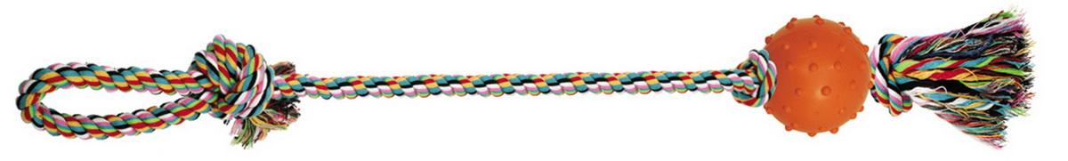 Игрушка для собак Dezzie Веревка №6, длина 60 см5608072Игрушка для собак Dezzie Веревка №6 изготовлена из натуральной хлопковой веревки и резины, поэтому не только увлекательна, но и полезна для здоровья домашних животных. Во время игры питомец тренирует десны и очищает свои зубы от камня. Веревочные игрушки - это одни из самых популярных игрушек для собак. Длина игрушки: 60 см.