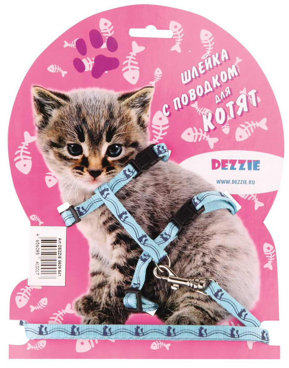 Шлейка для котят Dezzie, с поводком, ширина 0,8 см, обхват груди 23-43 см, цвет: голубой. 5609541 набор для щенков шлейка и поводок dezzie 5609547