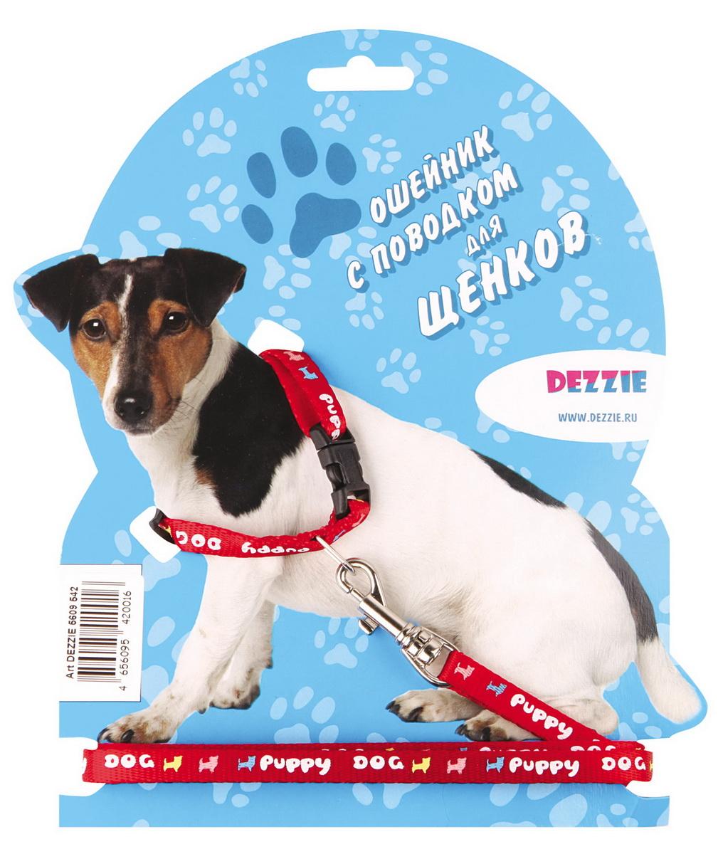 Комплект для щенков Dezzie: ошейник, поводок, цвет: красный набор для щенков шлейка и поводок dezzie 5609547