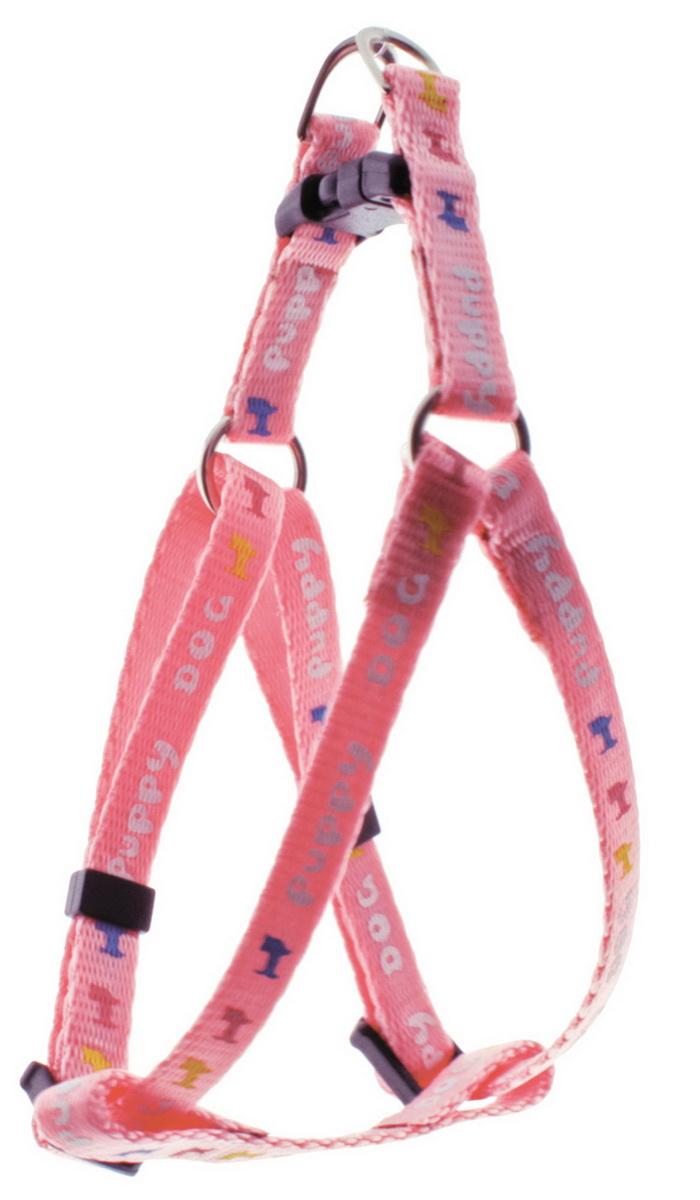 Шлейка для мини-собак Dezzie, цвет: розовый, ширина 0,8 см, обхват груди 22-29 см шлейка для собак dezzie цвет черный ширина 1 см обхват шеи 25 см обхват груди 28 33 см размер s 5624007
