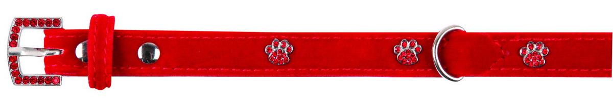 Ошейник для собак Dezzie, цвет: красный, обхват шеи 18-23 см, ширина 1 см. Размер XS. 56240545624054Ошейник для собак Dezzie изготовлен из бархата и декорирован металлическими вставками в виде лап со стразами. Он устойчив к влажности и перепадам температур. Клеевой слой, сверхпрочные нити и крепкие металлические элементы делают ошейник надежным и долговечным.Размер ошейника регулируется при помощи пряжки. Имеется металлическое кольцо для крепления поводка. Изделие отличается высоким качеством, удобством и универсальностью, а также имеет эффектный внешний вид. Минимальный обхват шеи: 18 см. Максимальный обхват шеи: 23 см. Ширина ошейника: 1 см.