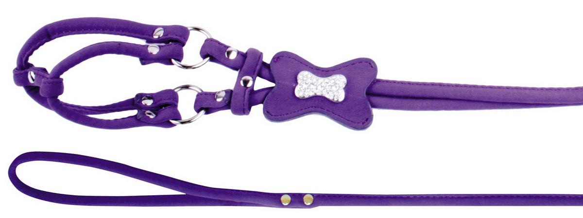 Шлейка для собак Dezzie, цвет: фиолетовый, обхват шеи 39 см, обхват груди 45 см. Размер M5624131Шлейка Dezzie изготовлена из бархата и подходит для собак крупных пород. Крепкие металлические элементы делают ее надежной и долговечной. Шлейка - это альтернатива ошейнику. Правильно подобранная шлейка не стесняет движения питомца, не натирает кожу, поэтому животное чувствует себя в ней уверенно и комфортно. Изделие отличается высоким качеством, удобством, универсальностью и украшено стразами.