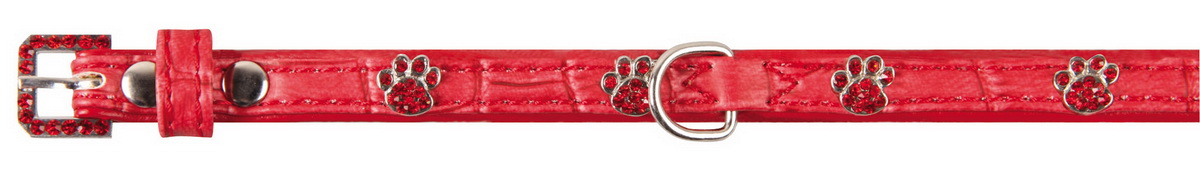 Ошейник для собак Dezzie, цвет: красный, обхват шеи 18-23 см, ширина 1 см. Размер XS. 56242785624278Лакированный ошейник для собак Dezzie, изготовленный из искусственной кожи, декорирован теснением по рептилию и металлическими вставками в виде лап со стразами. Он устойчив к влажности и перепадам температур. Клеевой слой, сверхпрочные нити и крепкие металлические элементы делают ошейник надежным и долговечным.Размер ошейника регулируется при помощи пряжки. Имеется металлическое кольцо для крепления поводка. Изделие отличается высоким качеством, удобством и универсальностью, а также имеет эффектный внешний вид. Минимальный обхват шеи: 18 см. Максимальный обхват шеи: 23 см. Ширина ошейника: 1 см.