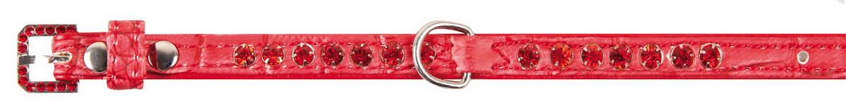 Ошейник для собак Dezzie, цвет: красный, обхват шеи 23-28 см, ширина 1 см. Размер S. 56242905624290Лакированный ошейник для собак Dezzie изготовлен из искусственной кожи и декорирован теснением под рептилию и стразами. Он устойчив к влажности и перепадам температур. Клеевой слой, сверхпрочные нити и крепкие металлические элементы делают ошейник надежным и долговечным.Размер ошейника регулируется при помощи пряжки. Имеется металлическое кольцо для крепления поводка. Изделие отличается высоким качеством, удобством и универсальностью, а также имеет эффектный внешний вид. Минимальный обхват шеи: 23 см. Максимальный обхват шеи: 28 см. Ширина ошейника: 1 см.