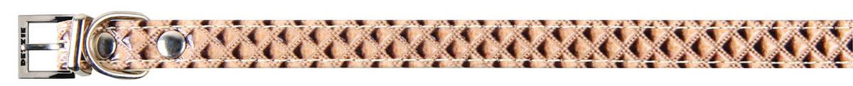 Ошейник для собак Dezzie, цвет: бежевый, обхват шеи 37 см, ширина 1,5 см. Размер S. 56243225624322Ошейник для собак Dezzie изготовлен из искусственной кожи и декорирован теснением. Он устойчив к влажности и перепадам температур. Клеевой слой, сверхпрочные нити и крепкие металлические элементы делают ошейник надежным и долговечным.Размер ошейника регулируется при помощи пряжки. Имеется металлическое кольцо для крепления поводка. Изделие отличается высоким качеством, удобством и универсальностью, а также имеет эффектный внешний вид. Обхват шеи: 37 см. Ширина ошейника: 1,5 см.
