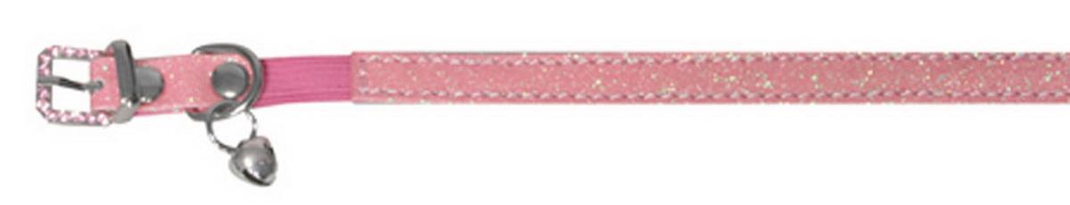 Ошейник для кошек Dezzie, с бубенчиком, цвет: розовый, обхват шеи 26 см, ширина 1 см. Размер XS. 56244065624406Ошейник для кошек Dezzie, изготовленный из полиэстера, декорирован стразами и дополнен бубенчиком.Ошейник застегивается на металлическую пряжку. Резиновая вставка позволяет ошейнику надежно зафиксироваться на шее питомца, не нанося дискомфорт шерсти и позволяя свободно дышать, и при необходимости легко снять аксессуар. Бубенчик позволит контролировать местонахождение кошки, а также будет оберегать уличных птиц от нежелательного контакта.Имеется металлическое кольцо для крепления поводка. Обхват шеи: 26 см. Ширина ошейника: 1 см.