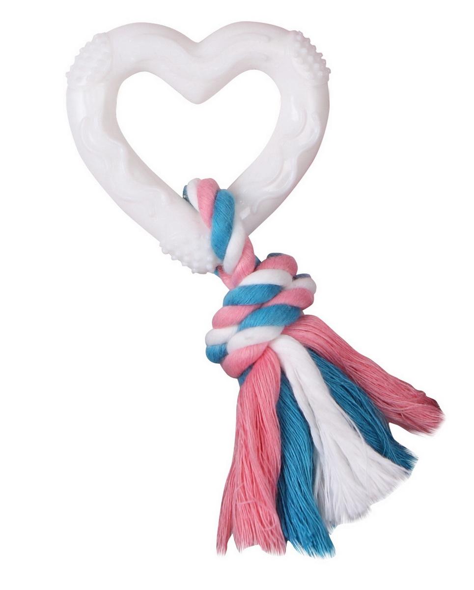 Игрушка для собак Dezzie Сердце с веревкой, 14,5 см свитер для собак dezzie 561500 цвет черный