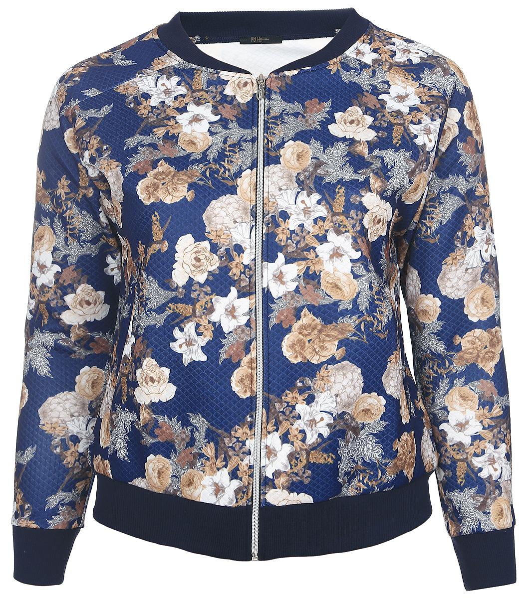 Куртка женская Pettli Collection, цвет: синий, белый, бежевый. 91645. Размер 4691645Легкая женская куртка Pettli Collection изготовлена из качественного полиэстера. Модель с небольшим воротником-стойка и длинными рукавами-реглан застегивается спереди на застежку молнию. Воротник, низ изделия и рукава дополнены трикотажными резинками. Куртка имеет по бокам два прорезных кармана. Оформлена модель цветочным принтом.