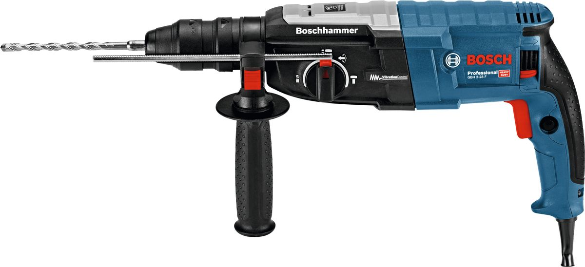 Перфоратор Bosch GBH 2-28 F New. 06112676000611267600Перфоратор Bosch GBH 2-28 F New имеет три режима работы: сверление с ударом и без, долбление. Также предусмотрена функция поворота долота, которая позволяет работать под разными углами. Смена рабочих насадок производится мгновенно, благодаря быстрозажимному патрону SDS-plus. Шарнирное крепление кабеля предотвращает разрыв. Электронная функция KickBack Control автоматически срабатывает при заклинивании сверла инструмента. Перфоратор автоматически отключается, чтобы снизить риск опасной отдачи. Данная функция помогает лучше контролировать инструмент и снизить риск получения травмы. Комплект поставки: рукоятка (2.602.025.141), ограничитель глубины (1.613.001.010), салфетка (1.616.200.413), быстросменный патрон 1.5-13 мм (2.608.572.212), патрон SDS-plus (2.608.572.213).