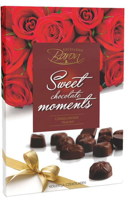 Millano Сладкие моменты ассорти конфет Baron из темного шоколада, 195 г5901669487964Набор конфет из тёмного шоколада с миндальной и какао-кремовой начинкой.