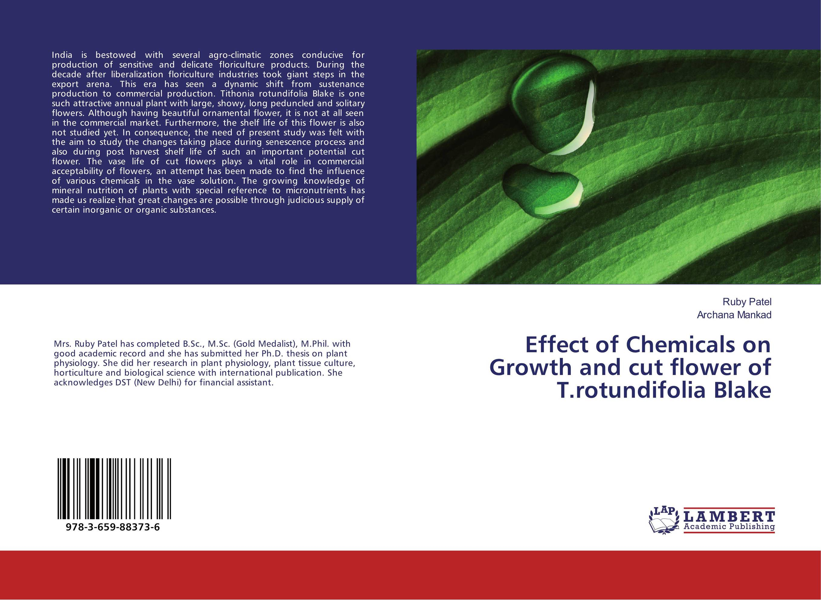 Effect of Chemicals on Growth and cut flower of T.rotundifolia Blake effect of beta carotene on growth and color of pterophyllum scalare