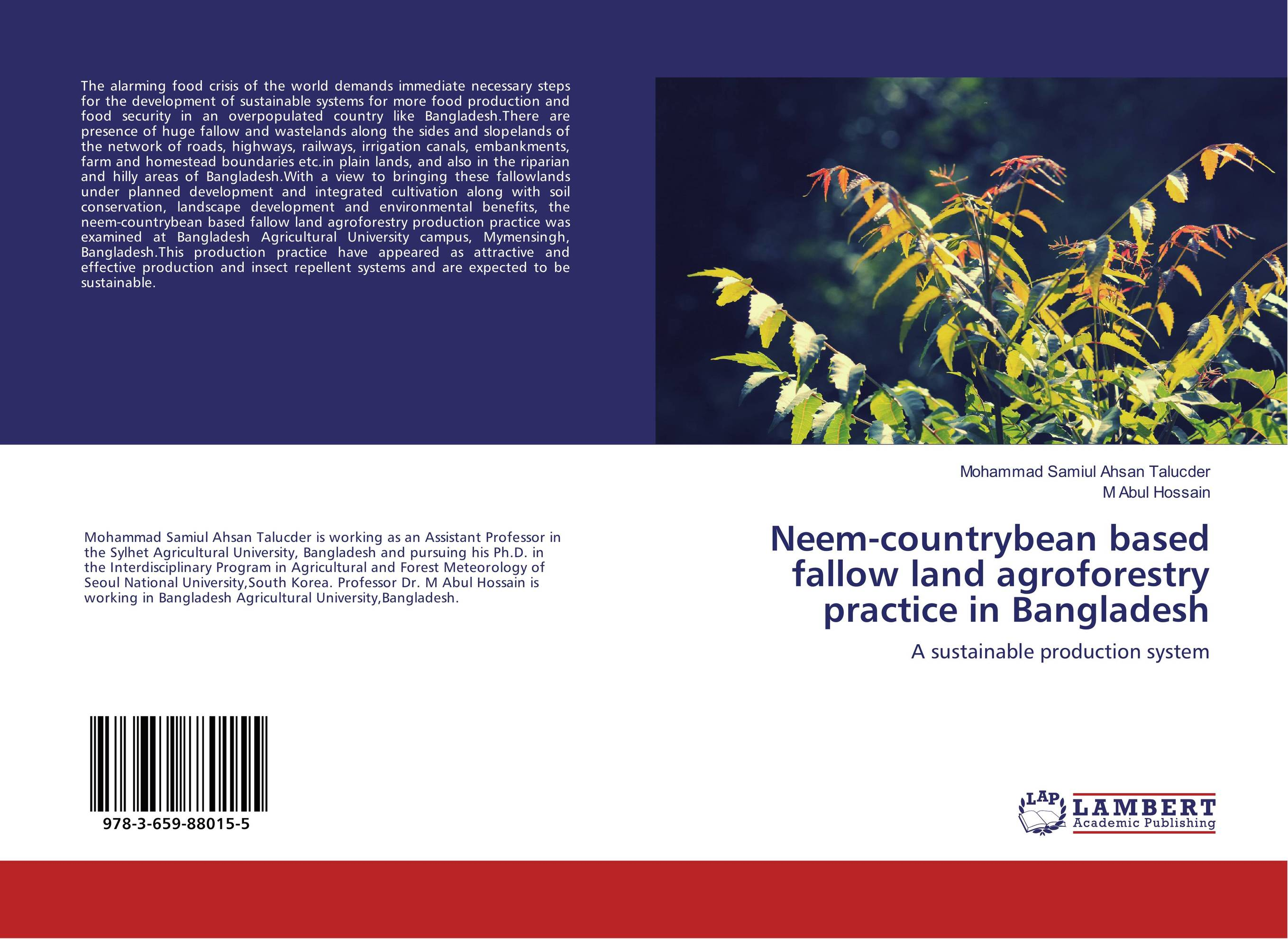 Neem-countrybean based fallow land agroforestry practice in Bangladesh bio economic evaluation of agroforestry and monoculture systems