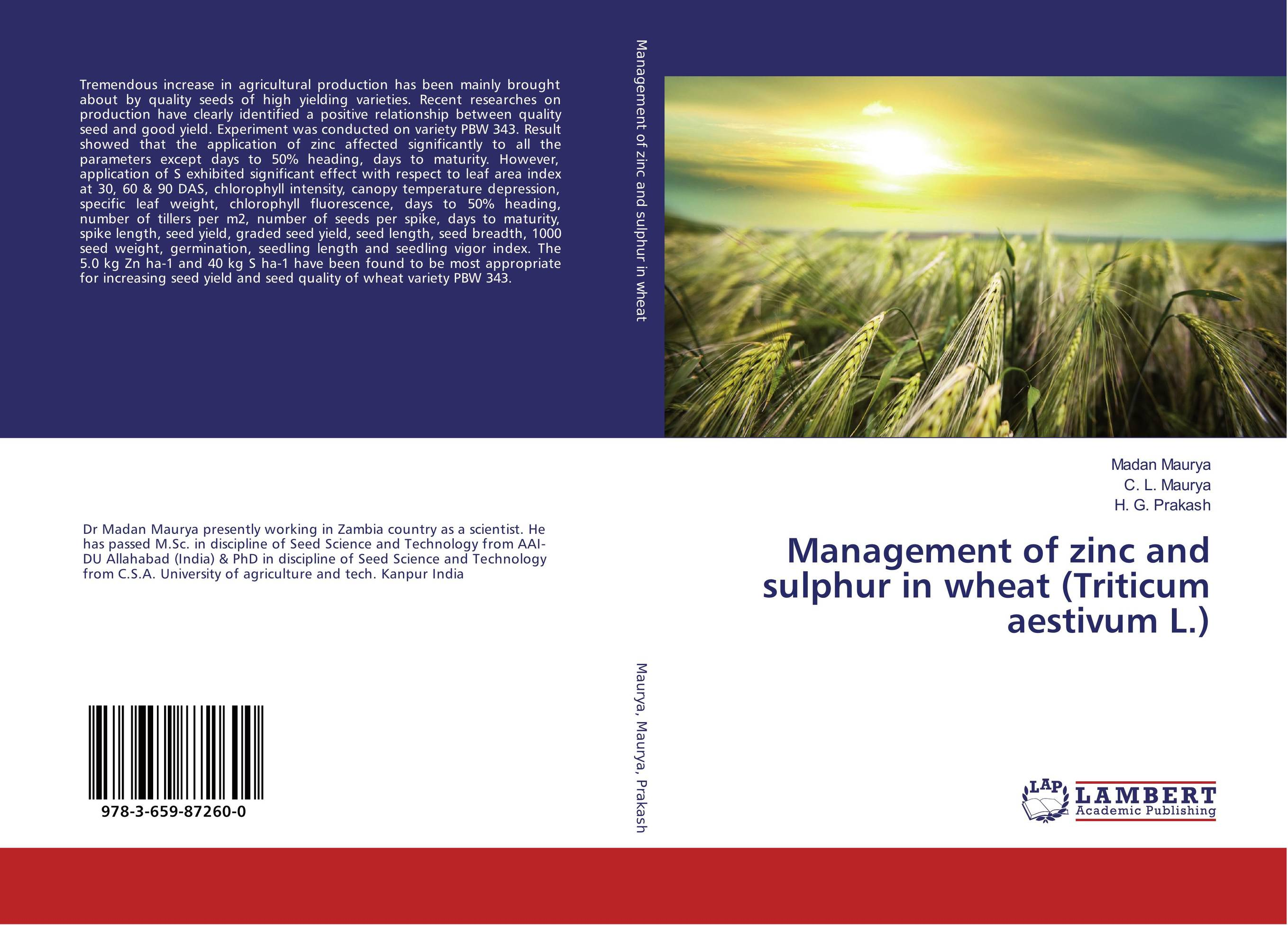 Management of zinc and sulphur in wheat (Triticum aestivum L.) nify benny and c h sujatha enrichment of sulphur compounds in the cochin estuarine system