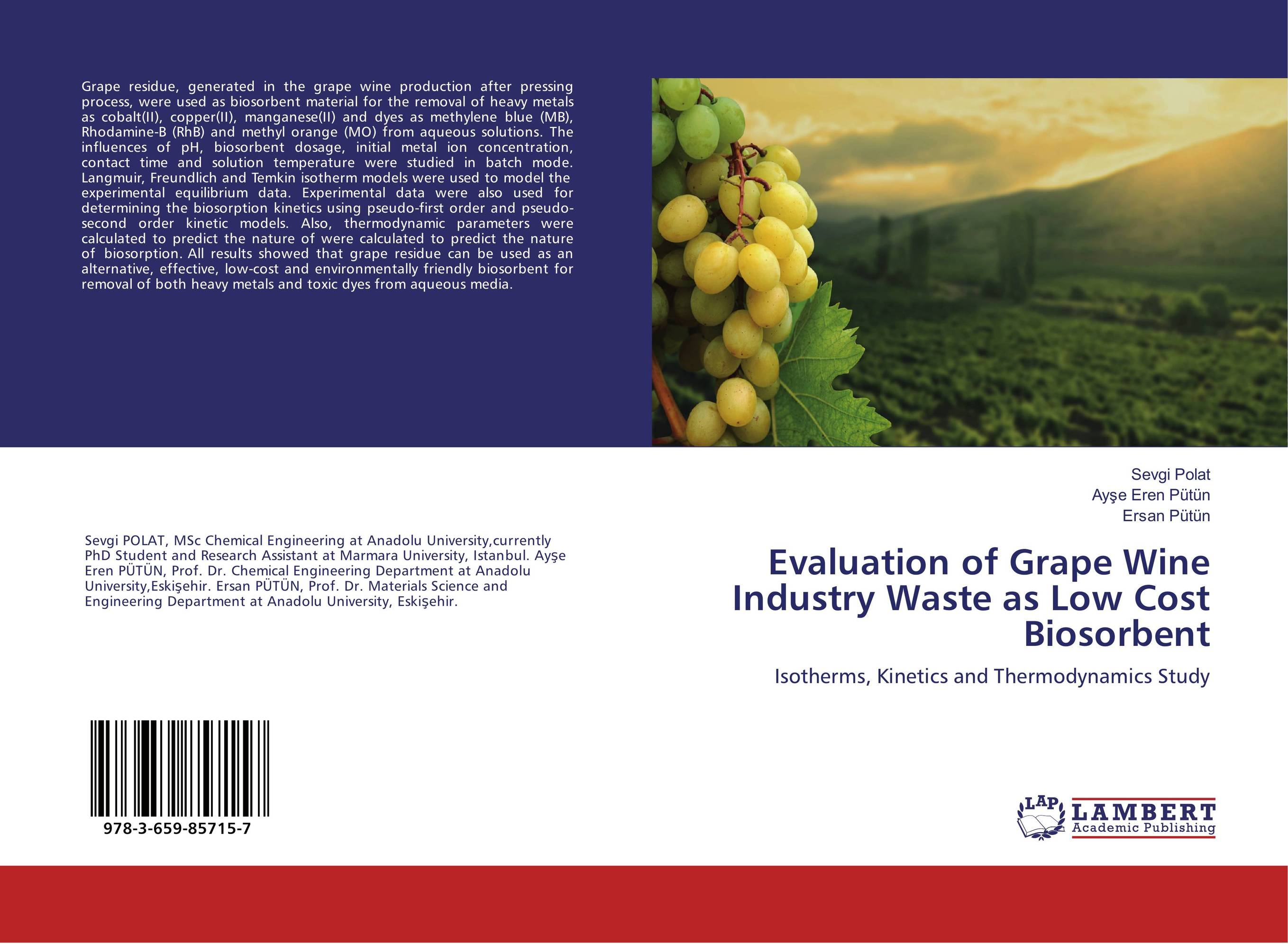Evaluation of Grape Wine Industry Waste as Low Cost Biosorbent extra fee cost just for the balance of your order shipping cost