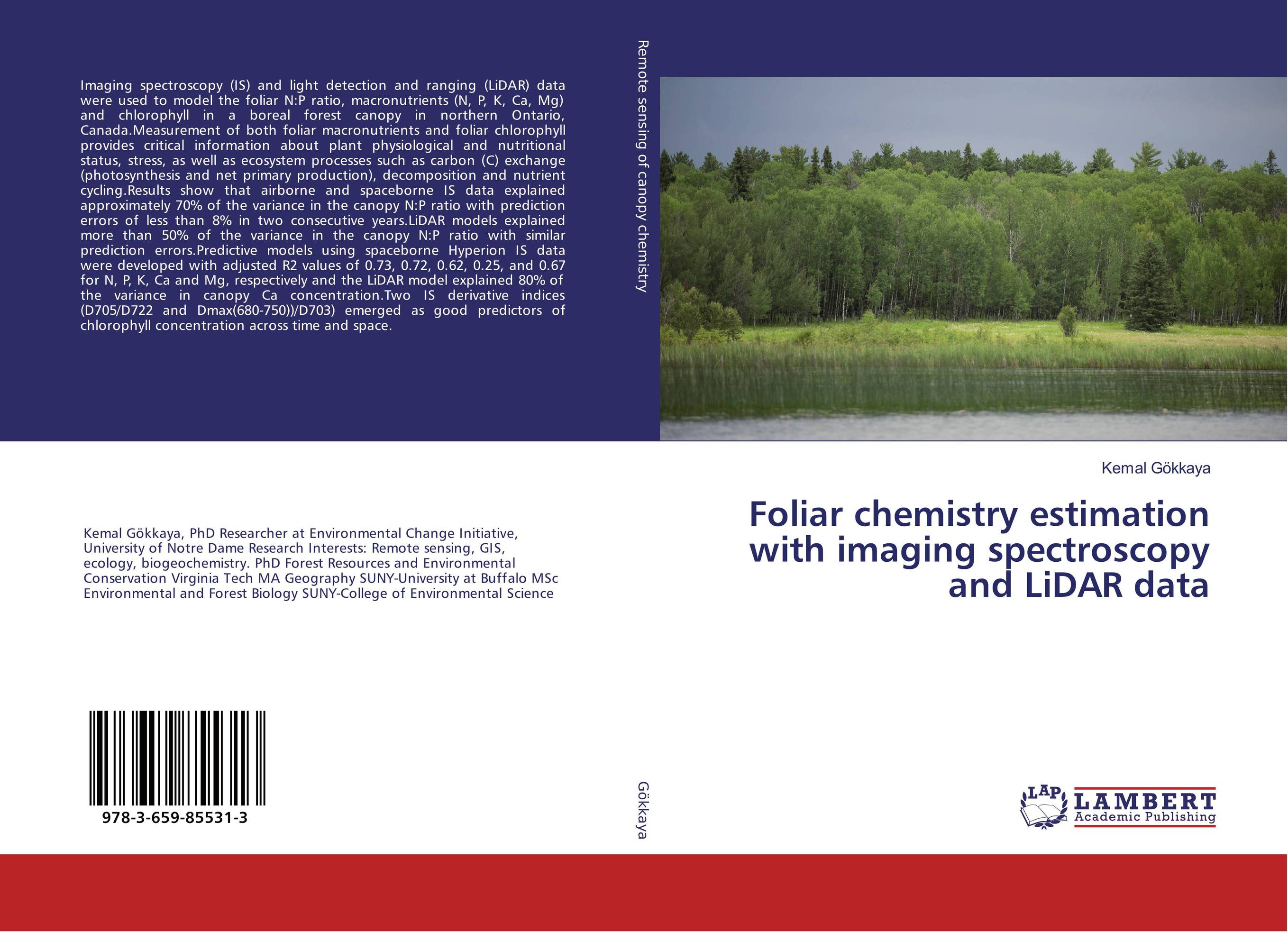 Foliar chemistry estimation with imaging spectroscopy and LiDAR data alon dadon imaging spectroscopy from space applied for geological mapping