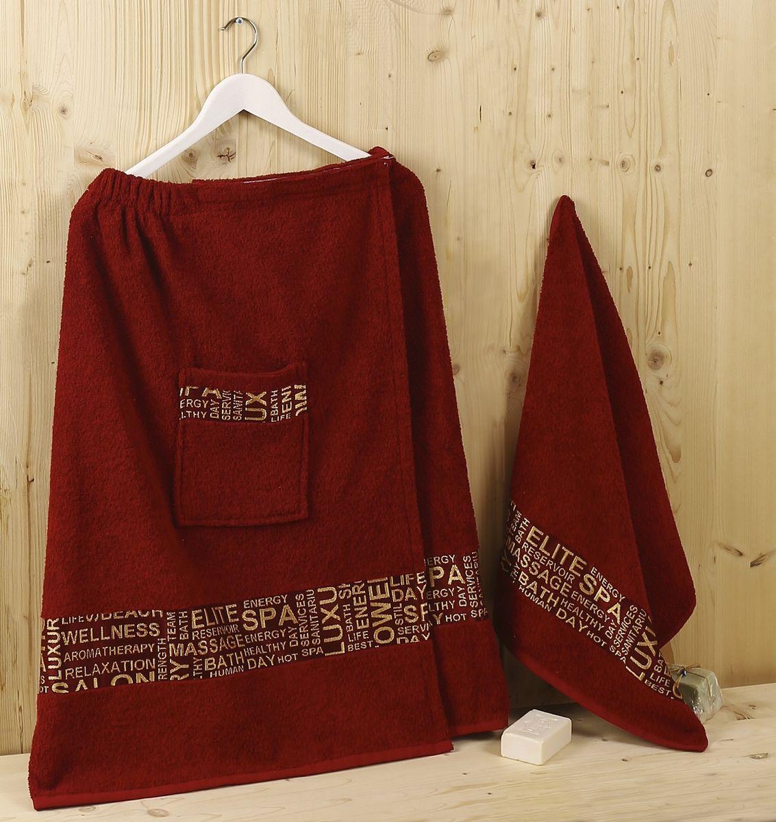 Набор для сауны Karna  Relax , цвет: бордовый, 2 предмета - Баня, сауна