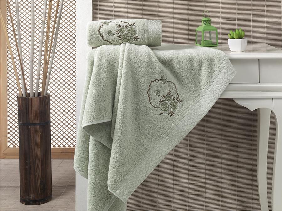 Набор полотенец Karna Demet, цвет: зеленый, 50 х 90 см, 70 х 140 см, 2 шт набор полотенец karna sandy цвет стоне 50 х 90 см 70 х 140 см 2 шт