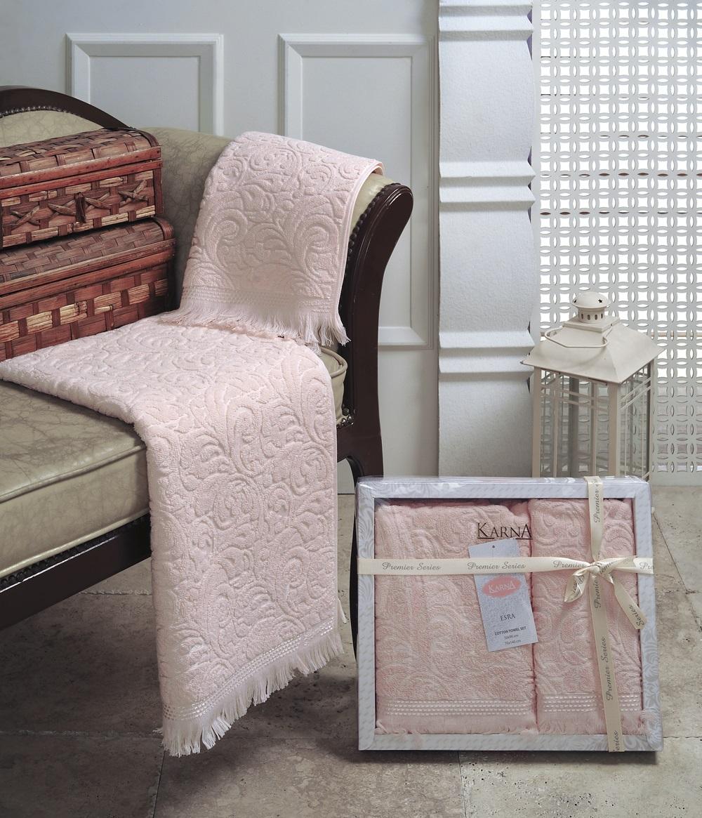 Набор махровых полотенец Karna Esra, цвет: абрикосовый, 50 х 90 см, 70 х 140 см, 2 шт набор полотенец karna sandy цвет стоне 50 х 90 см 70 х 140 см 2 шт