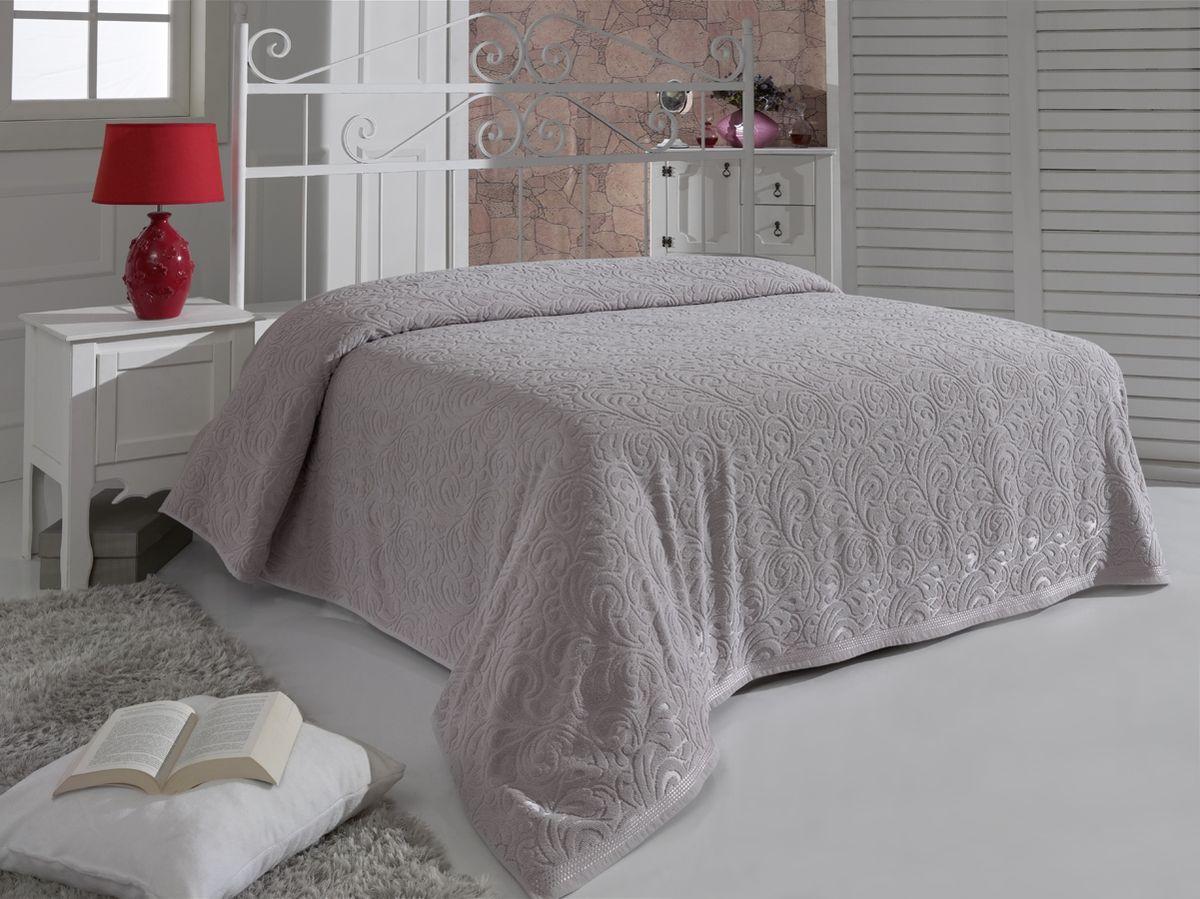 """Махровая простыня Karna """"Esra"""" изготовлена из 100% хлопка. Простыня приятная и нежная на ощупь, ее можно использовать как простыню, так и в качестве покрывала.  Оригинальный дизайн придает изделию уникальность и оригинальность. Размер простыни: 160 x 220 см."""