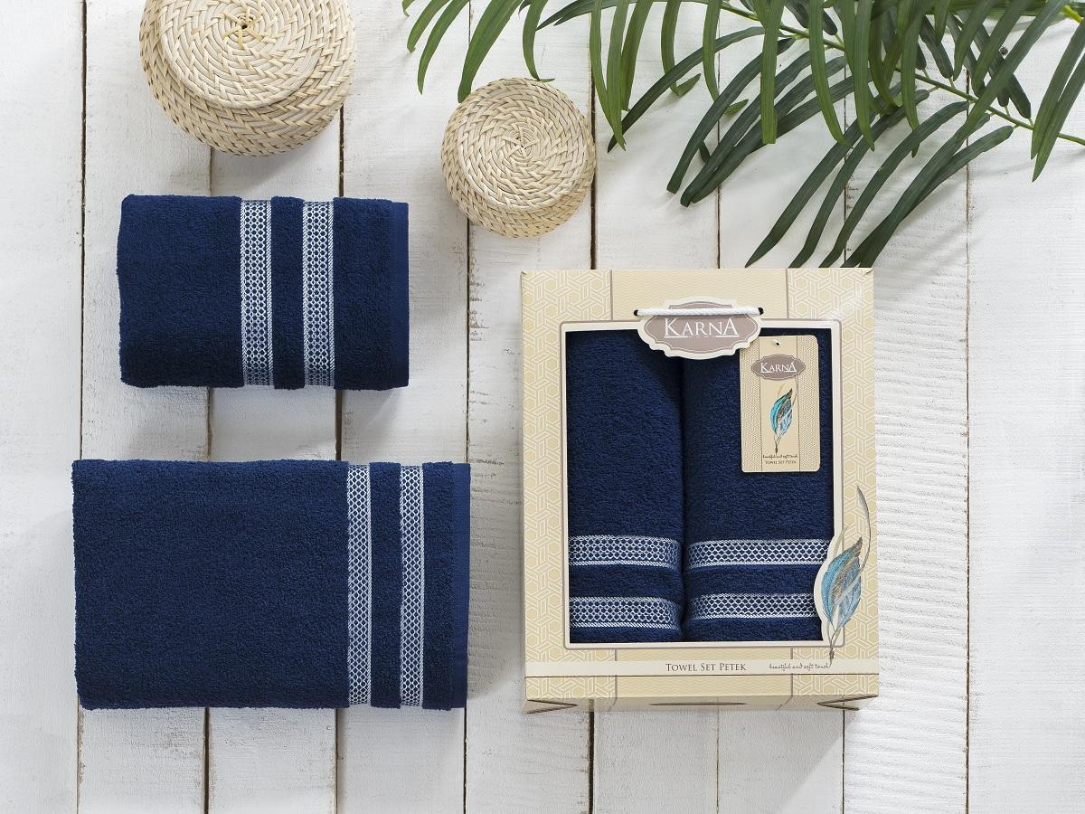 Набор махровых полотенец Karna Petek, цвет: синий, 2 шт2040/CHAR013Комплект полотенец Karna изготавливают из высококачественных хлопковых нитей. Хлопковые нити прядутся из длинных волокон. Длина волокон хлопковой нити влияет на свойства ткани, чем длиннее волокна, тем махровое изделие прочнее, пушистее и мягче на ощупь. А также махровое изделие будет отлично впитывать воду и быстро сохнуть. На впитывающие качества махры (ее гигроскопичность), конечно же, влияет состав волокон. Махра абсолютно не аллергенна, имеет высокую воздухопроницаемость и долгий срок использования ткани.Данное изделие отличается своей долговечностью и практичностью, оно не выгорает и не линяет. Также отличительной особенностью данной модели является ее оригинальный жаккардовый рисунок. Такие изделия имеют рельефный рисунок и отличаются повышенной прочностью, устойчивостью к частой стирке.