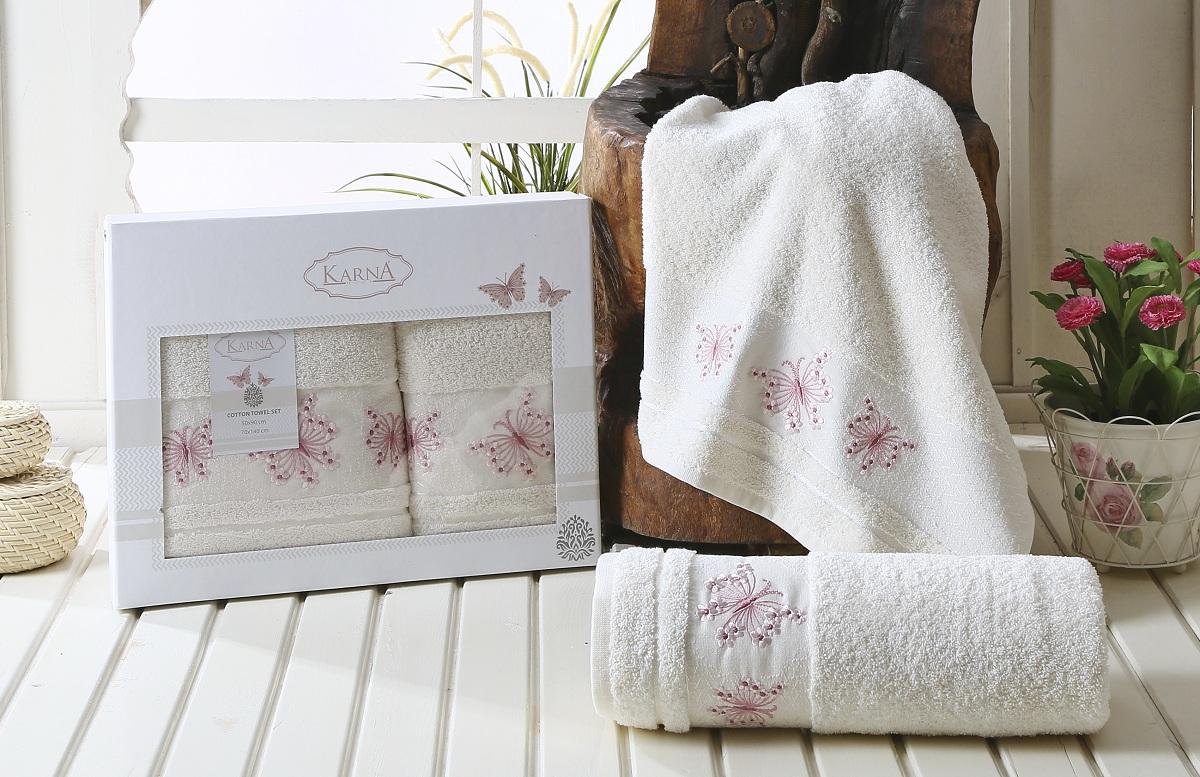 Набор полотенец Karna Bianca, цвет: кремовый, 50 х 90 см, 70 х 140 см, 2 шт набор полотенец karna sandy цвет стоне 50 х 90 см 70 х 140 см 2 шт