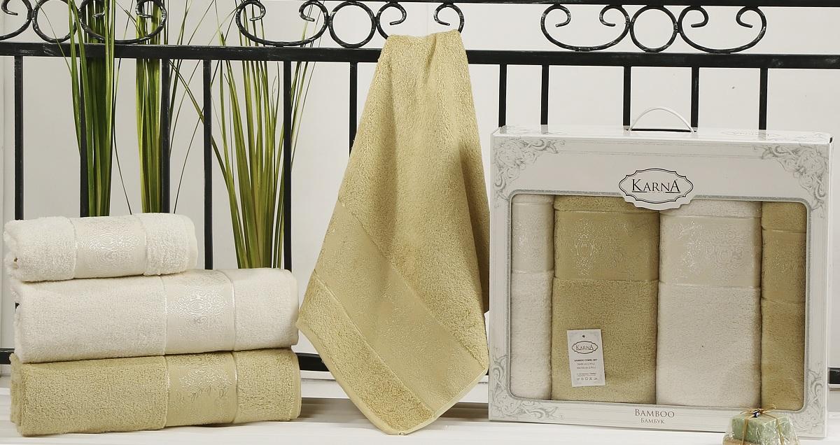 Набор полотенец Karna Pandora, цвет: кремовый, золотистый, 4 шт2198/CHAR001Кухонные полотенца Karna Pandora изготовлены из экологически чистого материала - бамбуковой махры. Бамбуковая махра делается из бамбуковых волокон. Бамбуковые волокна имеют дышащую структуру и обладают отличными свойствами впитывать влагу приблизительно на 60% больше, чем хлопок.Полотенца не образуют статического электричества и легко стираются.Отличительной особенностью данной модели является её оригинальный жаккардовый рисунок.В наборе 4 полотенца.Размер: 50 x 90 см, 90 x 150 см.