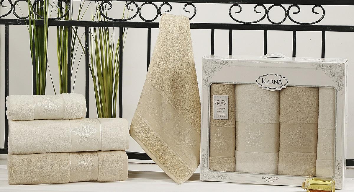 Набор кухонных полотенец Karna Pandora, цвет: кремовый, бежевый, 50 х 90 см, 90 х 150 см, 4 шт