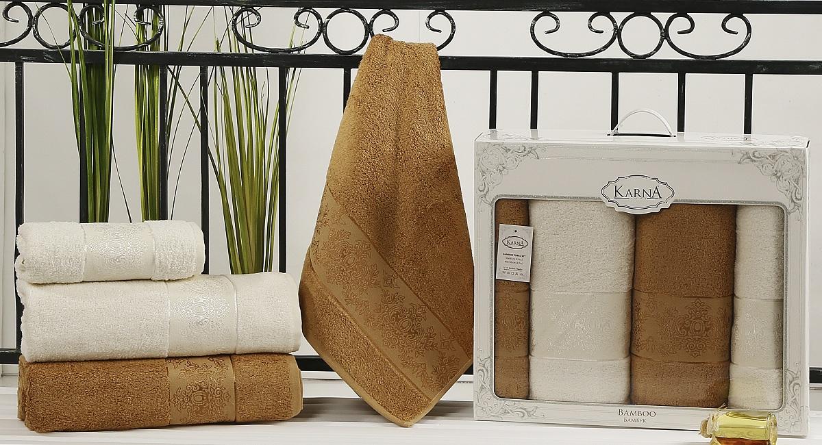 Набор полотенец Karna Pandora, цвет: кремовый, горчичный, 4 шт2198/CHAR007Кухонные полотенца Karna Pandora изготовлены из экологически чистого материала - бамбуковой махры. Бамбуковая махра делается из бамбуковых волокон. Бамбуковые волокна имеют дышащую структуру и обладают отличными свойствами впитывать влагу приблизительно на 60% больше, чем хлопок.Полотенца не образуют статического электричества и легко стираются.Отличительной особенностью данной модели является её оригинальный жаккардовый рисунок.В наборе 4 полотенца.Размер: 50 x 90 см, 90 x 150 см.