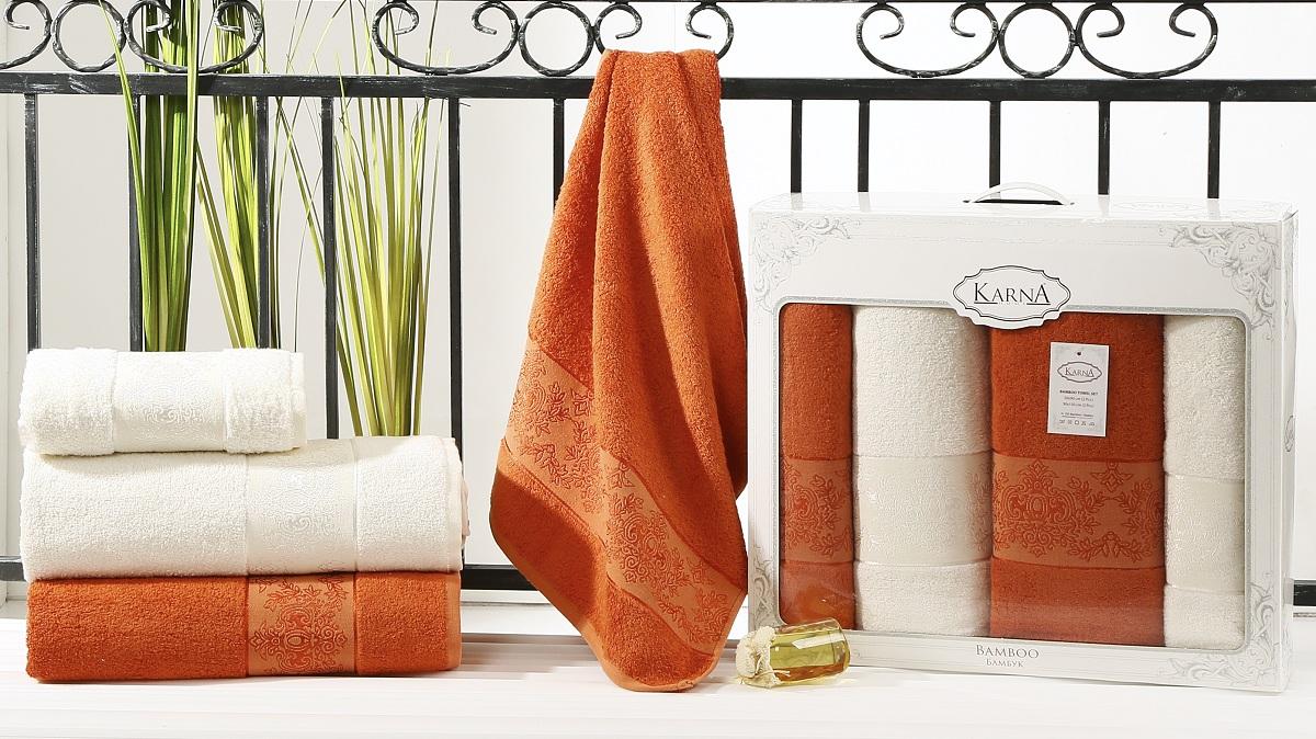 Набор полотенец Karna Pandora, цвет: кремовый, кирпичный, 4 шт2198/CHAR008Кухонные полотенца Karna Pandora изготовлены из экологически чистого материала - бамбуковой махры. Бамбуковая махра делается из бамбуковых волокон. Бамбуковые волокна имеют дышащую структуру и обладают отличными свойствами впитывать влагу приблизительно на 60% больше, чем хлопок.Полотенца не образуют статического электричества и легко стираются.Отличительной особенностью данной модели является её оригинальный жаккардовый рисунок.В наборе 4 полотенца.Размер: 50 x 90 см, 90 x 150 см.