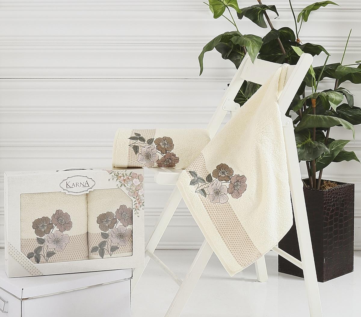 Набор полотенец Karna Sandy, цвет: кремовый, 2 шт2390/CHAR002