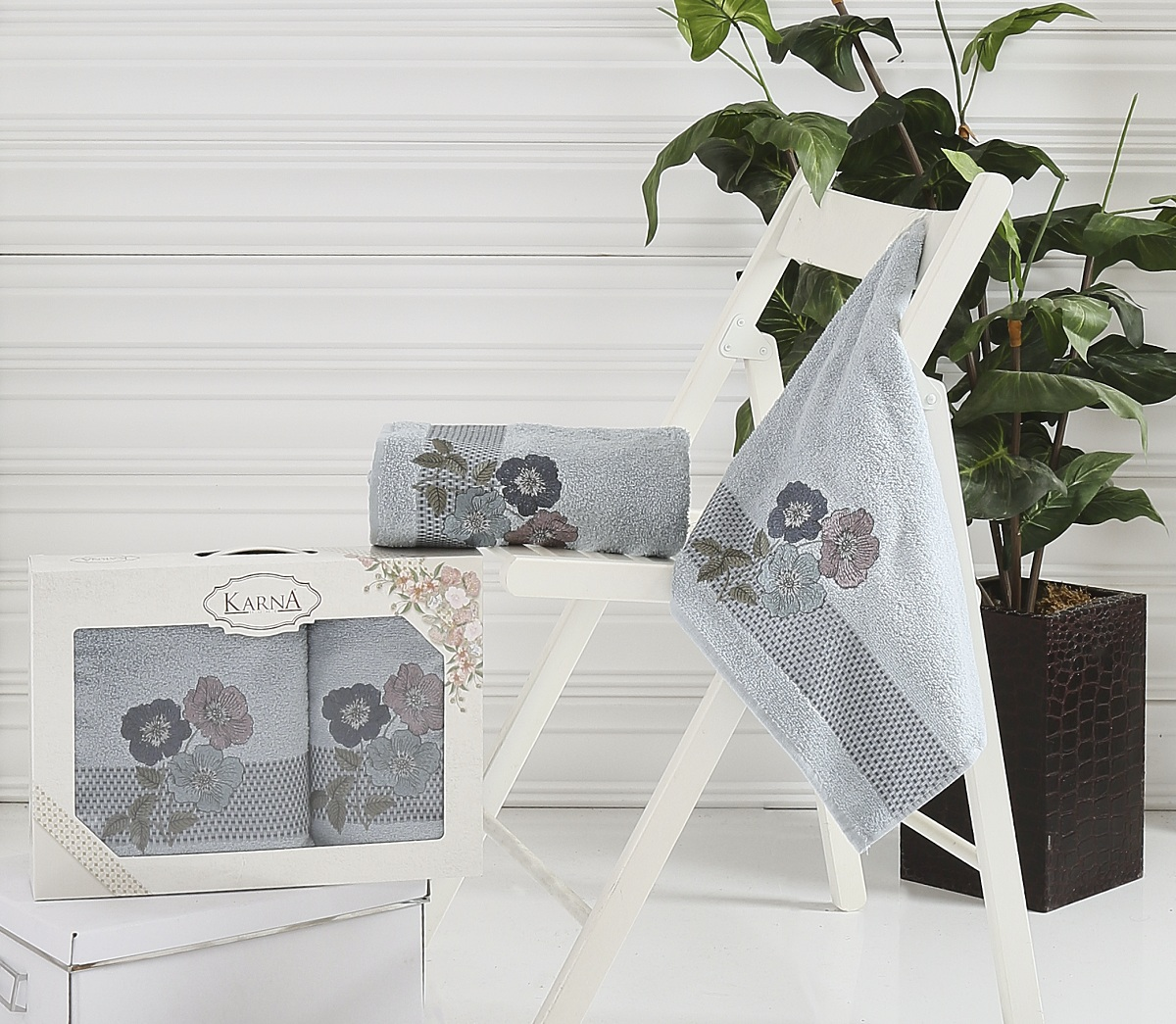 Набор полотенец Karna Sandy, цвет: стоне, 50 х 90 см, 70 х 140 см, 2 шт