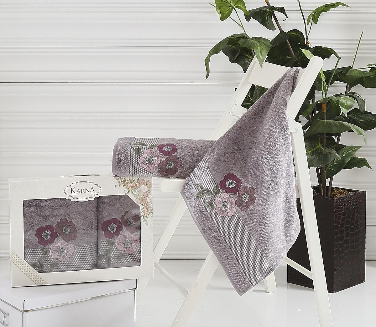 Набор полотенец Karna Sandy, цвет: темно-серый, 50 х 90 см, 70 х 140 см, 2 шт2390/CHAR006