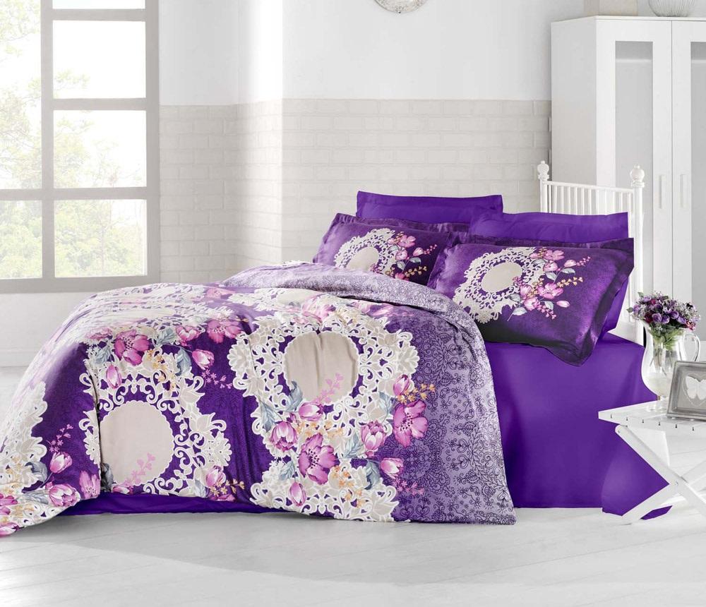 """Комплект белья Altinbasak """"Elvin"""", 2-спальный, наволочки 50х70, цвет: фиолетовый"""