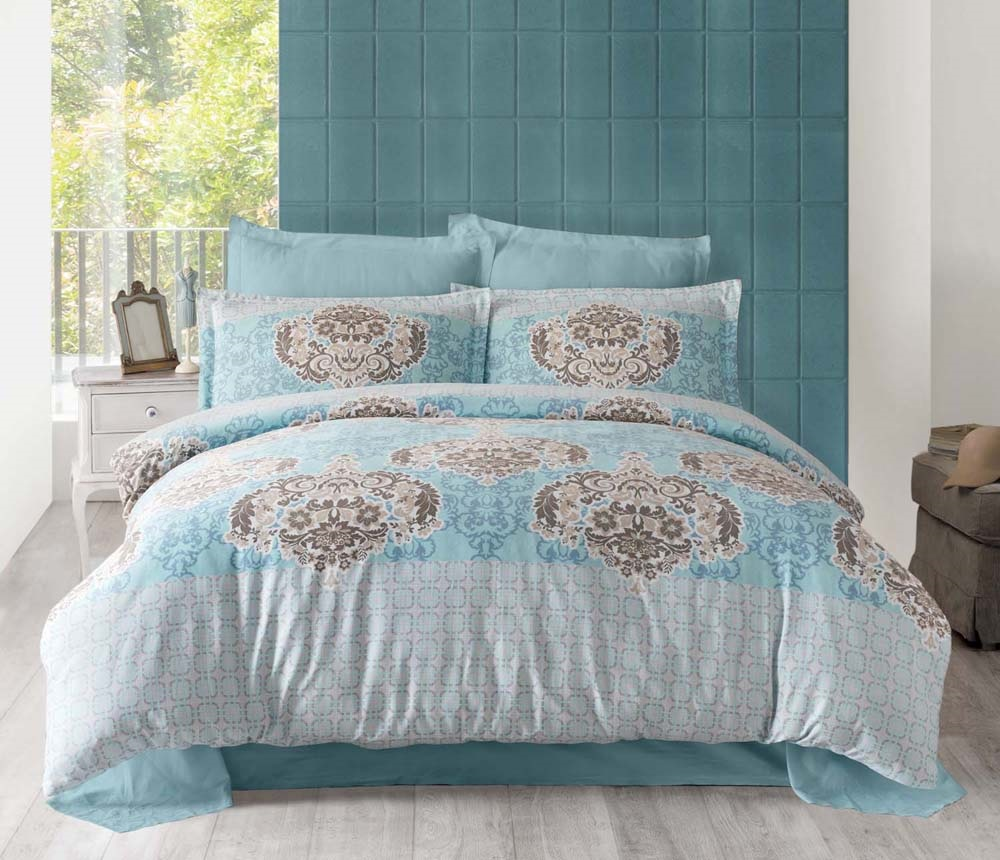 """Комплект белья Altinbasak """"Sayka"""", 2-спальный, наволочки 50х70, цвет: голубой"""
