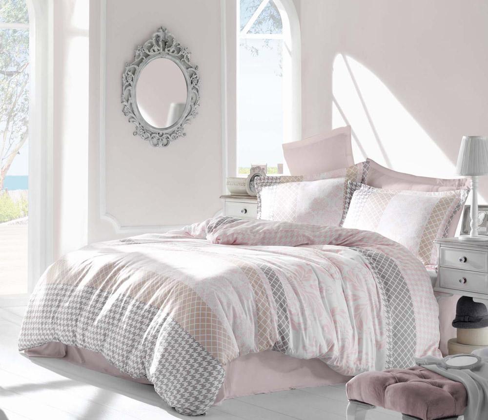 """Комплект белья Altinbasak """"Risha"""", 2-спальный, наволочки 50х70, цвет: розовый"""