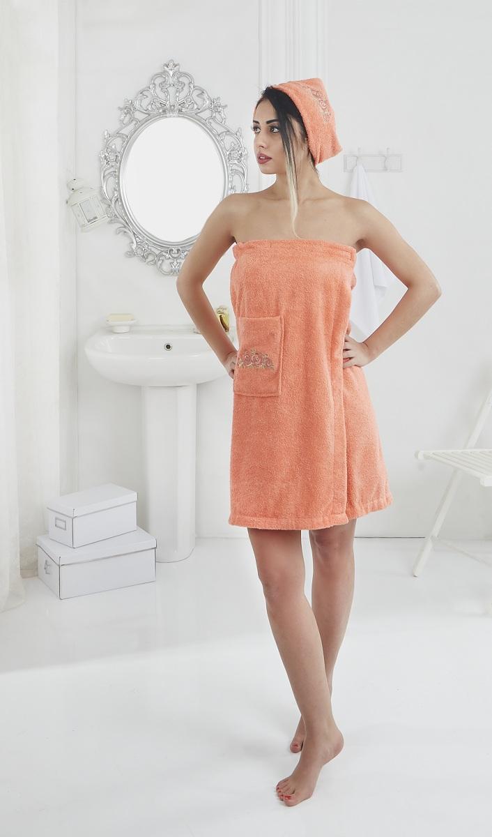 Набор для сауны женский Karna Pera, цвет: оранжевый, 2 предмета905211Махровый набор для сауны Pera изготавливают из высококачественного 100% хлопка. Хлопковые нити прядутся из длинных волокон. Длина волокон хлопковой нити влияет на свойства ткани, чем длиннее волокна, тем махровое изделие прочнее, пушистее и мягче на ощупь. А также махровое изделие будет отлично впитывать воду и быстро сохнуть. На впитывающие качества махры (ее гигроскопичность) конечно же влияет состав волокон.Набор абсолютно не аллергенен, имеет высокую воздухопроницаемость и долгий срок использования. Состоит из полотенца-парео и полотенца -чалмы.