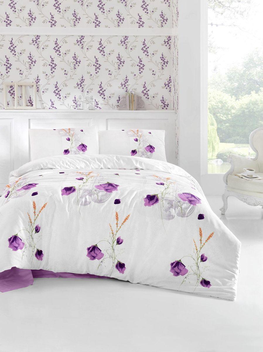 """Комплект белья Altinbasak """"Edita"""", 2-спальный, наволочки 50х70, цвет: фиолетовый"""