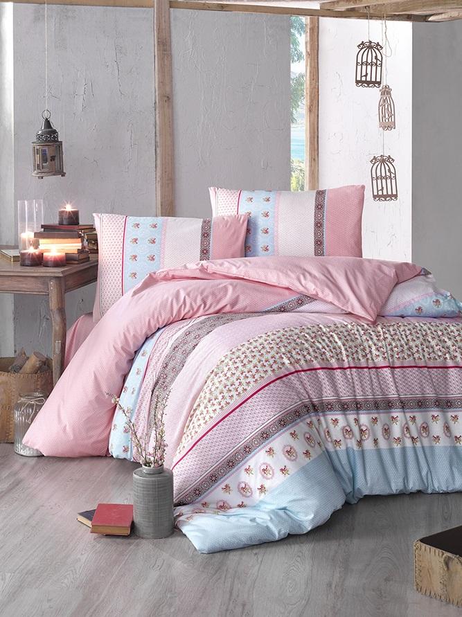 """Комплект белья Altinbasak """"Justo"""", 2-спальный, наволочки 50х70, цвет: розовый"""